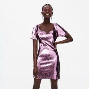 Zara Pink Sequin Flirty Dress